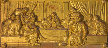 ROME, ITALY - MARCH 9, 2016: The Last Supper altar bronze relief in Sanctuary of the Madonna dei Miracoli church Stock Image