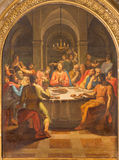 ROME, ITALY - MARCH 12, 2016: The Last supper paint in church Basilica di San Lorenzo in Damaso by Vincenzo Berrettini Royalty Free Stock Photography
