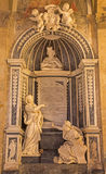 ROME, ITALY - MARCH 10, 2016: The marble Memorial to cardinal Pietro Basadonna in church Basilica di San Marco by Filippo Carcani Stock Photography