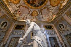 Villa Borghese - Rome, Italy. Rome, Italy - March 25, 2018: Marble statues in Villa Borghese in Rome, Italy royalty free stock photo