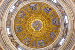ROME, ITALY - MARCH 9, 2016: The mosaic of God the Father in the top of cupola in Chigi chapel by Luigi de Pace (1516). In church Basilica di Santa Maria del royalty free stock images