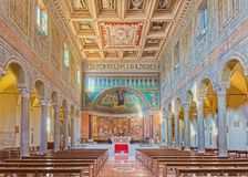 ROME, ITALY - MARCH 10, 2016: The nave of church Basilica di Santa Maria in Dominica with the mosaic of Madonna among the angels royalty free stock photo