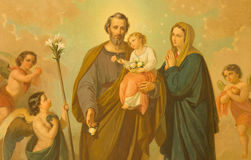 ROME, ITALY - MARCH 10, 2016: The painting of Holy Family in church Basilica di Santa Maria Ausiliatrice. By unknown artist of 20. cent royalty free stock image