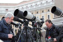 Photographers with long telephoto waiting for Pope Francis I Royalty Free Stock Photography
