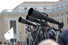Photographers with long telephoto waiting for Pope Francis I Stock Photos