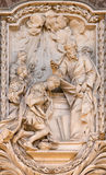 ROME, ITALY - MARCH 10, 2016: The relief of The Baptism of the Eunuch from life of St. Philip the Apostle Stock Photography