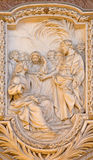 ROME, ITALY - MARCH 10, 2016: The relief of The Call of St Matthew in church Basilica di San Marco by Carlo Monaldi Stock Photography