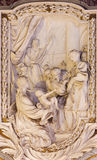 ROME, ITALY - MARCH 10, 2016: The relief of scene from life of Apostle in church Basilica di San Marco designs by Clemente Orlandi Stock Photo