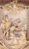 ROME, ITALY - MARCH 10, 2016: The relief of scene from life of St. Andrew the Apostle by Andrea Bergondi 18. cent. Royalty Free Stock Photos
