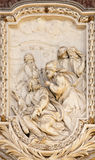 ROME, ITALY - MARCH 10, 2016: The relief of scene from life of St. Thaddeus the Apostle designs Stock Photo
