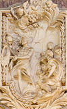 ROME, ITALY - MARCH 10, 2016: The relief of St. Bartholomew the Apostle in church Basilica di San Marco by Giovanni Le Dous Royalty Free Stock Images