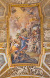 ROME, ITALY - MARCH 9, 2016: Vault fresco The Raising of Lazarus at the Prayer of His Sister Mary in church Chiesa di Santa Ma Stock Photos