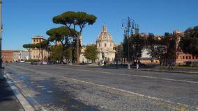 The Via dei Fori Imperiali is a road in the centre of the city of Rome. Rome, Italy - March 21, 2018: The Via dei Fori Imperiali is a road in the centre of the stock footage