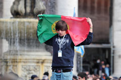Young portuguese faithful waiting for Pope Francis I Stock Image