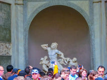Rome, Italy - May 02, 2014: Ancient statue of Laocoon and his Sons in Vatican, Italy. Rome, Italy - May 02, 2014: The tourists visiting Ancient statue of Royalty Free Stock Photos