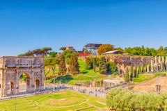 ROME, ITALY - MAY 08, 2017 : Arch of Constantine Italian: Arco. Di Costantino is a triumphal arch in Rome, situated between the Colosseum and the Palatine Hill Royalty Free Stock Image
