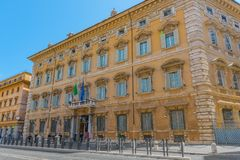 ROME, ITALY- MAY 09, 2017:  Beautiful landscape of Madama Palace. Palazzo madama. Palazzo Madama  in Rome is the seat of the Senate of the Italian Republic Royalty Free Stock Images