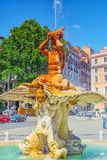 ROME, ITALY- MAY 08, 2017:  Beautiful landscape  urban and histo. Rical view of the Rome, street, people, tourists on it. The Triton Fountain Fontana del Tritone Stock Images