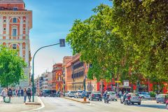 ROME, ITALY-MAY 08, 2017:  Beautiful landscape  urban and histor. Ical view of the Rome, street, people, tourists on it, urban life of the Eternal City. Italy Royalty Free Stock Image