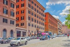 ROME, ITALY- MAY 10, 2017:  Beautiful landscape  urban and histo. Rical view of the Rome, street, people, tourists on it, urban life of the Eternal City. Italy Royalty Free Stock Photos