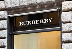 Rome, Italy - May 13, 2018: Burberry logo on brand`s store in Rome. Burberry logo Stock Images