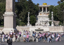 ROME, ITALY- MAY 29: A crowd of tourists on Piazza del Popol� on May 29, 2011 in Rome, Italy Stock Image