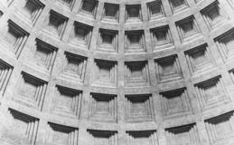 ROME, ITALY - MAY 05, 2019: Detail of ceiling of Pantheon - church and former Roman temple, Rome, Italy stock photography