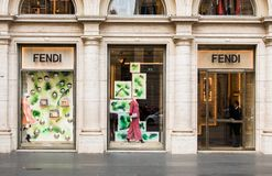 Rome, Italy - May 13, 2018: Fendi fashion store in Rome. stock image