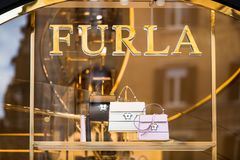 Rome, Italy - May 13, 2018: Furla shop window in Rome. stock photo