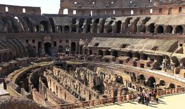 The impressive Roman architecture of the Colosseum amphitheatre in Rome royalty free stock photography