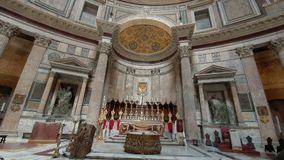 ROME. ITALY. May 21, 2019 Many tourists in the middle of the Pantheon Church in Rome.A popular tourist destination and a stock video footage
