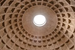 ROME, ITALY - MAY 05, 2019: Monumental ceiling of Pantheon - church and former Roman temple, Rome, Italy.  royalty free stock photos