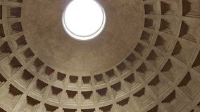 Rome, Italy - May 05, 2016: Pantheon interior. Old Roman temple and view of monumental dome with light hole in the stock video footage