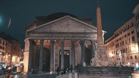 ROME, ITALY - MAY 31 2018: Timelapse of night Pantheon in Rome, Italy. Tourist are walking around square in front of stock footage