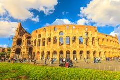 Colosseo sunset aerial view Royalty Free Stock Image