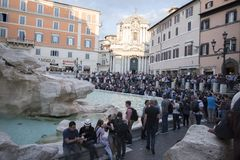 Rome, Italy - 19 may 2018: The Trevi Fountain. Italian: Fontana di Trevi is a fountain in the Trevi district in Rome, Italy, designed by Italian architect stock images