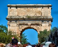 The Arch of Titus. ROME, ITALY - MAY 17, 2017: View of the Arch of Titus at the entrance of the Roman Forum in Rome Royalty Free Stock Photography