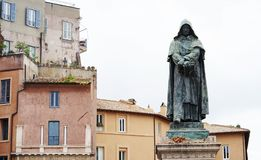 The monument to Giordano Bruno in rome. Rome Italy The monument to Giordano Bruno 1548-1600, philosopher and writer condemned by the Inquisition, was erected in Stock Photo