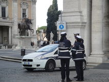 Rome, Italy, municipal city policemen on Capitol hill Royalty Free Stock Photo