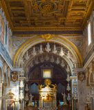Interior of church. Rome , Italy. ROME, ITALY - NOV 01, 2016: Altar in the Church of Santa Maria in Aracoeli in Rome, Italy. It is designated Church of the city Royalty Free Stock Photos