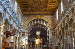Interior of church. Rome , Italy. ROME, ITALY - NOV 01, 2016: Altar in the Church of Santa Maria in Aracoeli in Rome, Italy. It is designated Church of the city Royalty Free Stock Images
