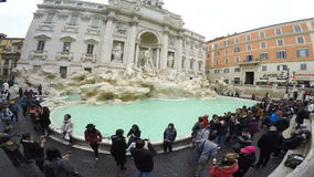 ROME ITALY - NOV10,2016 : large number of tourist taking photograph in front of Trevi fountain most popular traveling destination. In  heart of rome italy stock video
