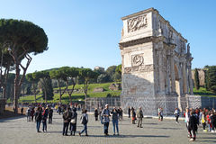 Rome Italy 15 November 2015 :Arch of Constantine, , . Built to commemorate the emperor`s victory over his rival Stock Photos