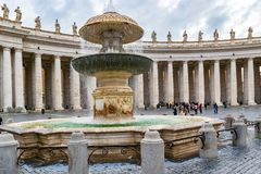 The Bernini Fountain in Saint Peter`s Square, Vatican City, Rome stock image