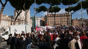 Anti-government protest in Rome stock video