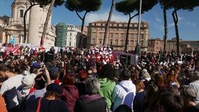 Anti-government protest in Rome stock footage