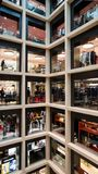 Rome, Italy. November 2017. Luxury showcases and famous brands in a mall. Shops inside a shopping center. Luxury brands and fashion cloths Royalty Free Stock Image