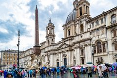 Navona Square Piazza Navona with Bernini`s Fountain of the Four Rivers Fontana Dei Quattre Fiumi, Rome stock photo