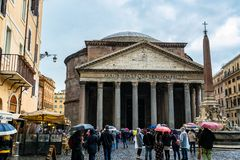 The Pantheon, a former Roman temple in Rome, Italy stock photo