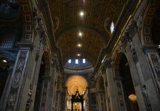 Interior of Saint Peter Basilica in Vatican royalty free stock photo